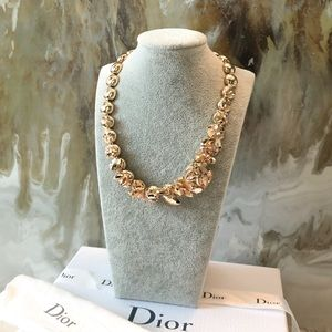 Rare Dior Gold Metallic Crystal Flower Necklace